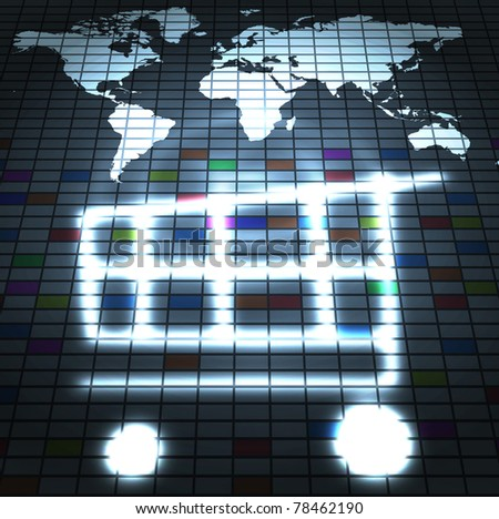 online shop trading around the world abstract illustration - stock photo