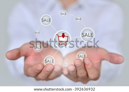 Online shopping business concept showing shopping cart and selecting  - stock photo