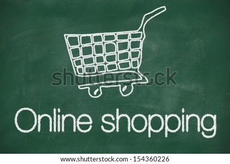 Online shopping cart concept chalk drawing on blackboard - stock photo