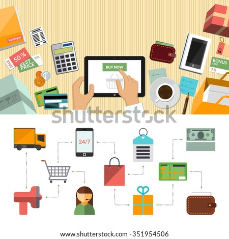Online shopping concept background banner in flat style with internet marketing icons set. Top view of a desktop. Rasterized copy - stock photo