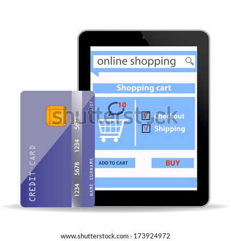 Online Shopping  concept e-commerce technology with modern  tablet pc and credit card isolated on white background
