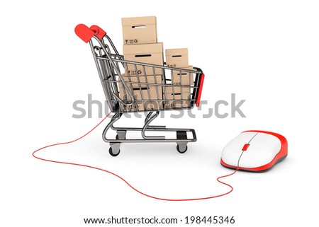 Online Shopping Concept. Shopping Cart with boxes connected to a Computer Mouse on a white background - stock photo