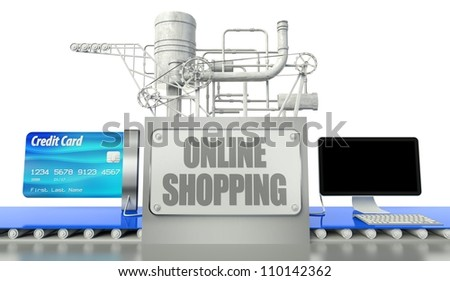 Online shopping concept with computer and credit card