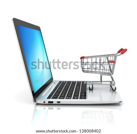 online shopping 3d concept - stock photo