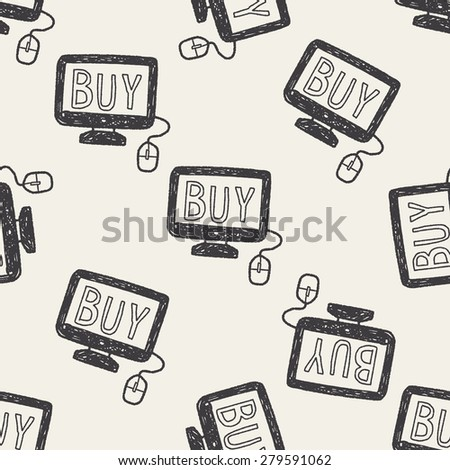 online shopping doodle seamless pattern background - stock photo