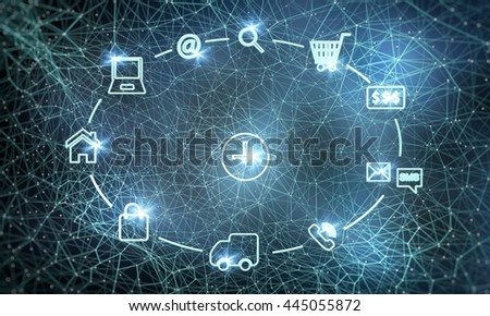 Online shopping is easy .Background to the network. with highlights - stock photo
