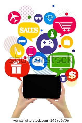Online shopping or shop business template./ Hands holding tablet, colorful bubbles/buttons floating of it with online shopping icons. - stock photo