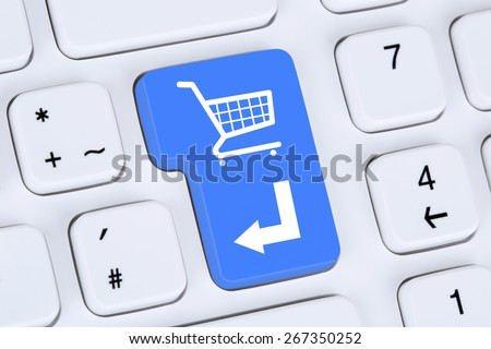 Online shopping order e-commerce internet shop concept with shopping cart - stock photo