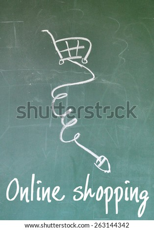 online shopping sign on blackboard - stock photo