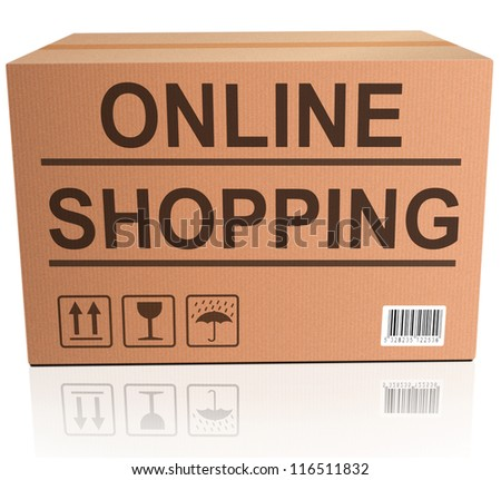online shopping webshop icon order package on internet web shop with delivery at home