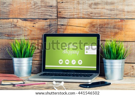 Online shopping website in a laptop computer. - stock photo