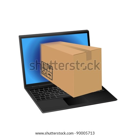 online shopping with laptop computer - stock photo