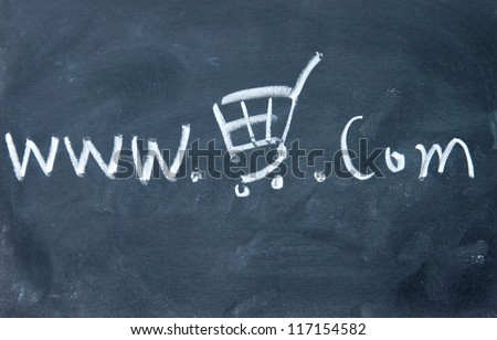 Online store symbol drawn with chalk on blackboard - stock photo
