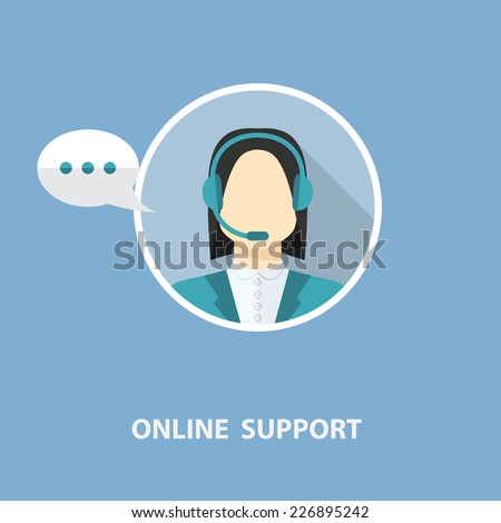 online support concept in flat stile  isolated on a blue background