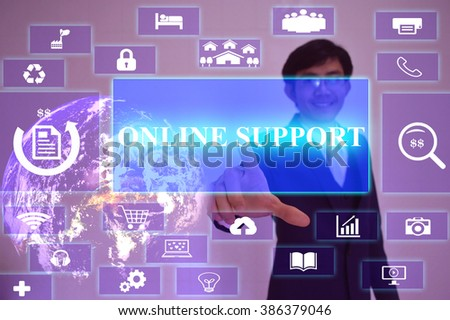 ONLINE SUPPORT concept  presented by  businessman touching on  virtual  screen ,image element furnished by NASA - stock photo