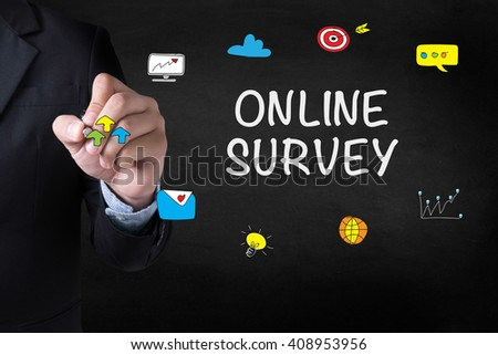 ONLINE SURVEY Businessman drawing Landing Page on blurred abstract background - stock photo