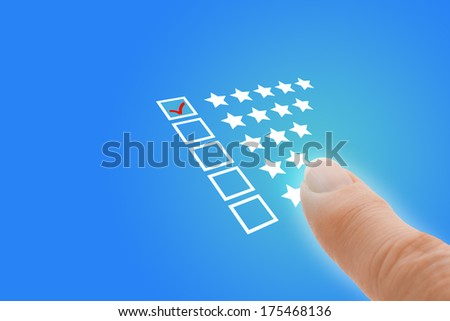 Online Survey questionnaire with Customer Finger Pointing at Excellent Tick - stock photo