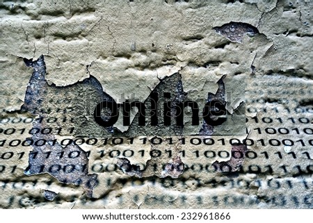 Online text on grunge background - stock photo