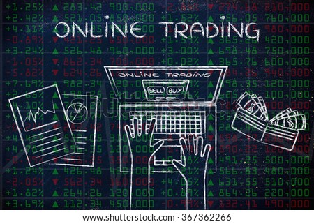 online trading: computer user with wallet and stats on green and red stock market data - stock photo