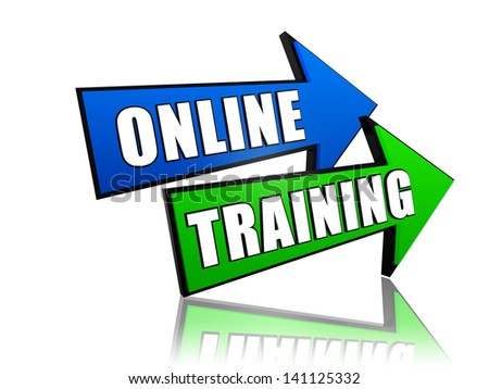 online training - text in 3d arrows, education concept words - stock photo