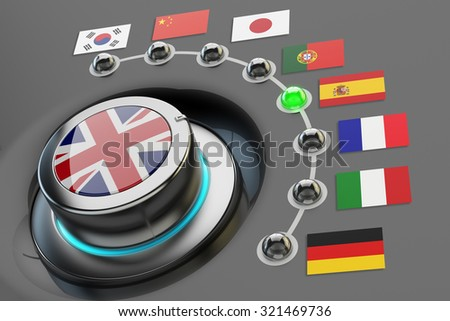 Online translator concept, multi-language website interface, switch knob language selector with flags of the world countries - stock photo