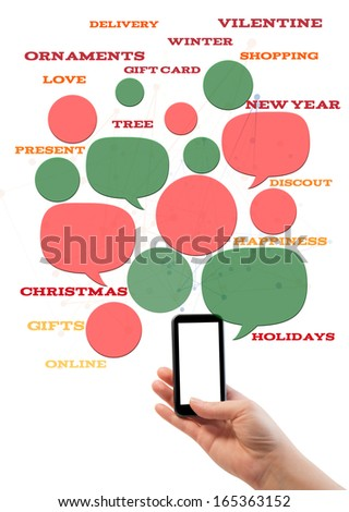 Online winter holiday shopping or shop business template. Hand holding smartphone colorful bubbles/buttons floating of it with online shopping text. - stock photo
