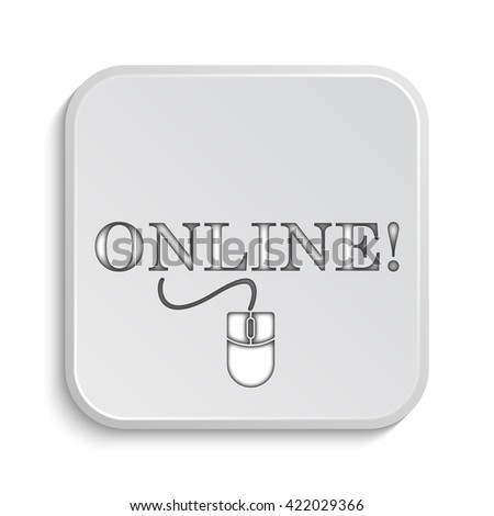 Online with mouse icon. Internet button on white background.