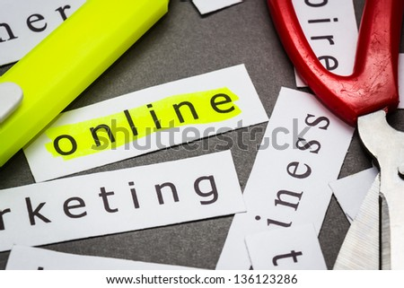 Online word on piece of paper with highlight pen - stock photo