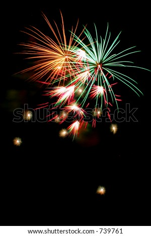 Only Fireworks with black background - stock photo
