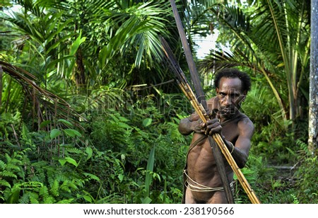 ONNI VILLAGE, NEW GUINEA, INDONESIA - JUNE 23: The Portrait Korowai man hunter with arrow and bow. Tribe of Korowai (Kombai , Kolufo).On June 23, 2012 in Onni Village, New Guinea, Indonesia  - stock photo