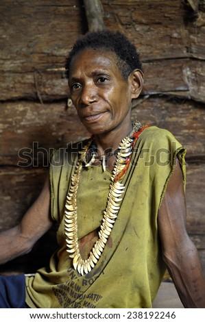 ONNI VILLAGE, NEW GUINEA, INDONESIA - JUNE 24: The Portrait Korowai woman in the wood house. Korowai Kombai ( Kolufo).On June 24, 2012 in Onni Village, New Guinea, Indonesia   - stock photo