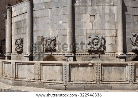 Onofrio's Big Fountain, a large and ornate public fountain in the centre of Dubrovnik, Croatia. - stock photo