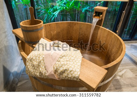 Onsen series : wooden bathtub