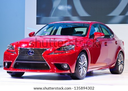 ONTHABURI, THAILAND - MARCH 26: The new Lexus IS 300 h showed in 34th Bangkok International Motor Show on March 26, 2013 in Nonthaburi, Thailand - stock photo