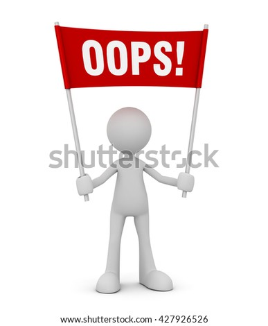 oops 3d illustration - stock photo