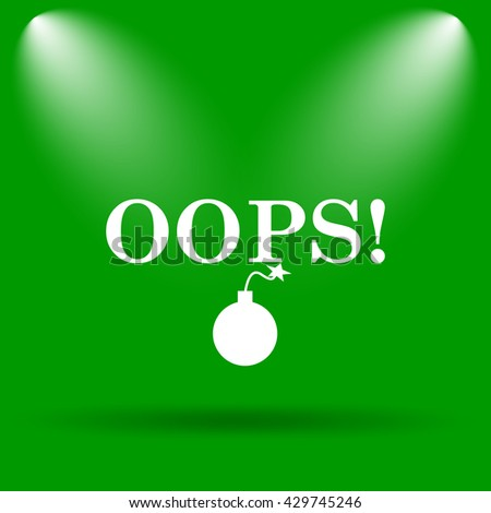 Oops icon. Internet button on green background.