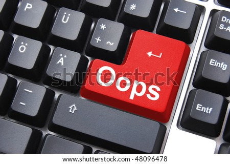 oops key showing mistake error or failure