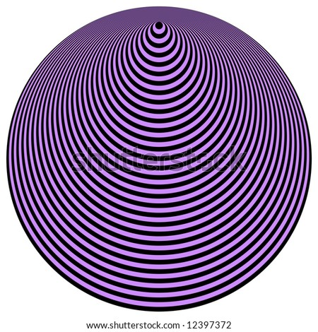 Op Art Concentric Circles Violet Over Black - stock photo