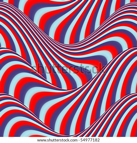 Op Art Flowing Stripes Red Blue Light Blue Seamless - stock photo