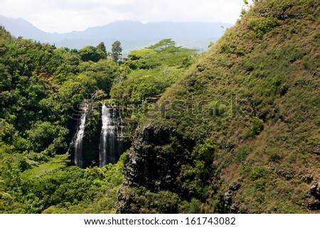 Opaekaa Falls Majestic Mountain Waterfall Kauai Island - stock photo