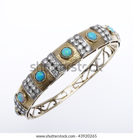 opal and diamond bangle bracelet - stock photo