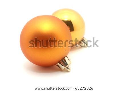 Opaque silver and golden christmas balls - stock photo