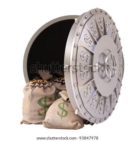 open a bank vault with bags of gold coins. isolated on white. - stock photo