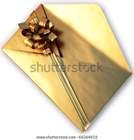 open a golden envelope tied with ribbon and bow. isolated on white with clipping path. - stock photo