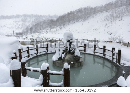 Open air hot onsen in snow winter, Hokkaido, Japan