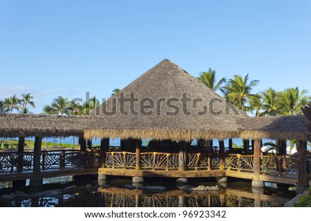 Open air native hut style architecture of Pacific islands, Maui, HI