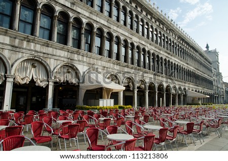 Open air restaurant or cafe in Venice Italy on the San Marco Square - stock photo