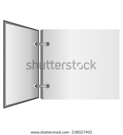 Open album in grayscale colors isolated on white background - stock photo