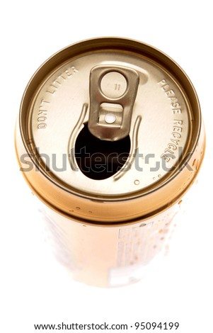 Open aluminum drink can