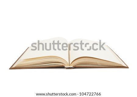 open an old book on white book - stock photo